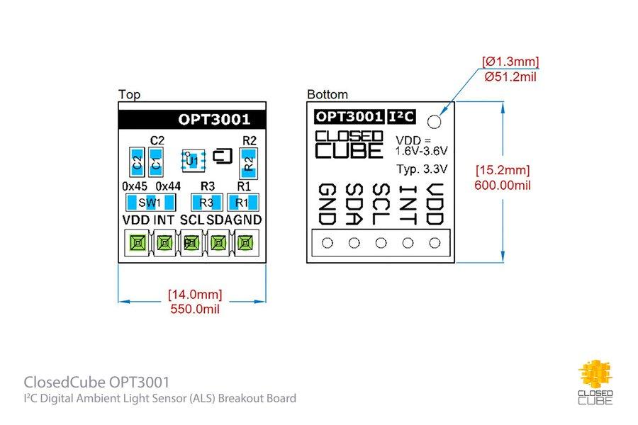OPT3001 Digital Ambient Light Sensor Breakout