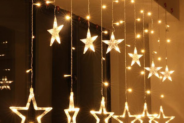 Christmas Lights Fairy Star LED Curtain String