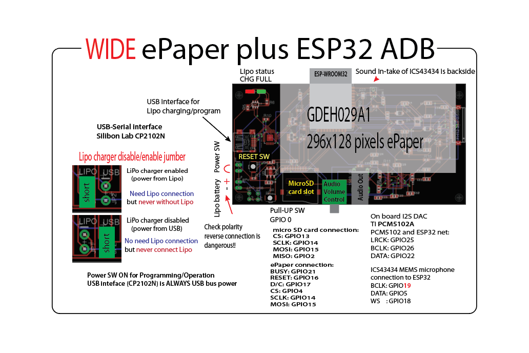 Wide ePaper plus ESP32 ADB 2