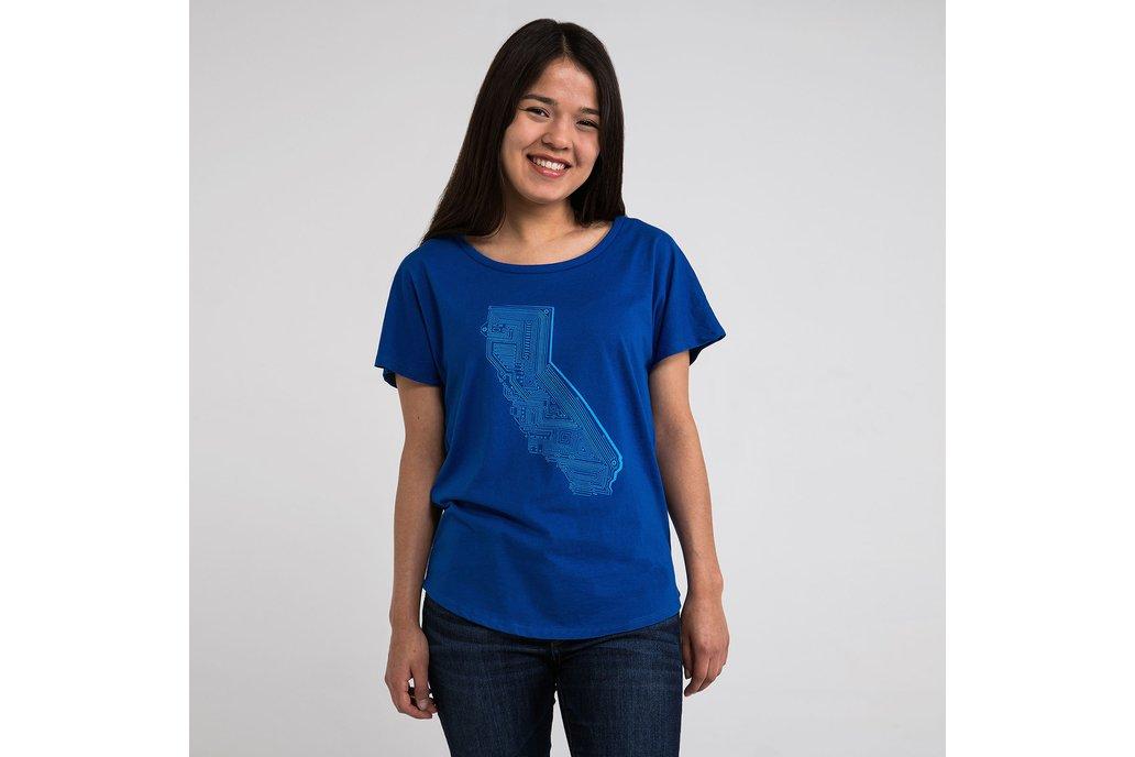 Cali Tech Womens Graphic T-shirt in Blue 1