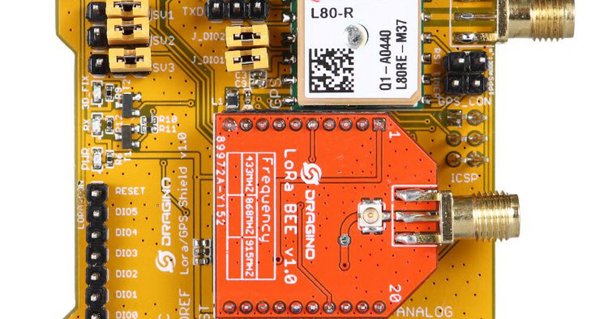 Lora/GPS shield for Arduino by DRAGINO TECH on Tindie