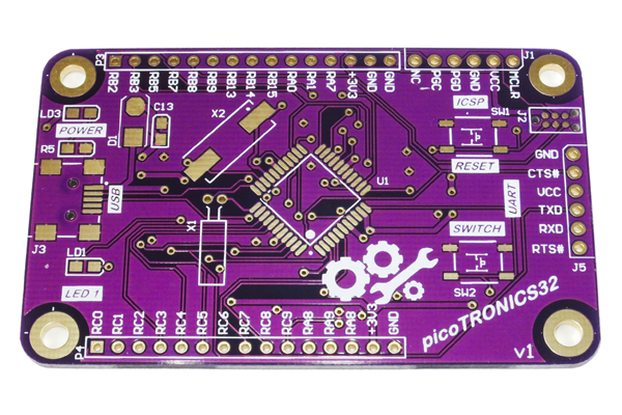 picoTRONICS32 PIC32MX Development Board PCB