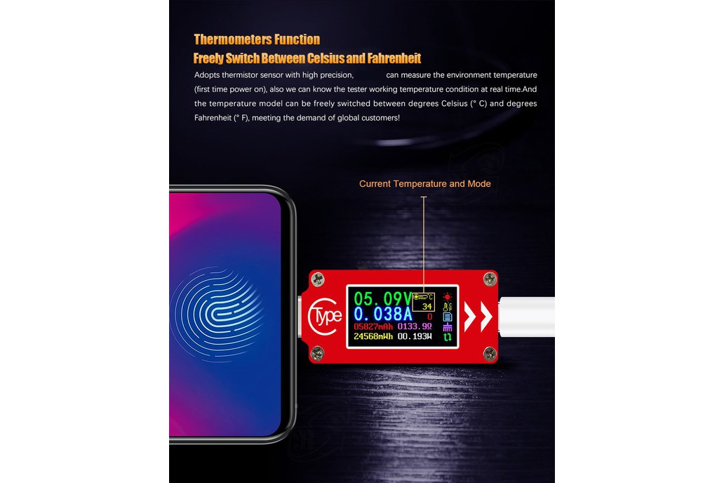 USB energy monitor OLED disp current voltage power 6