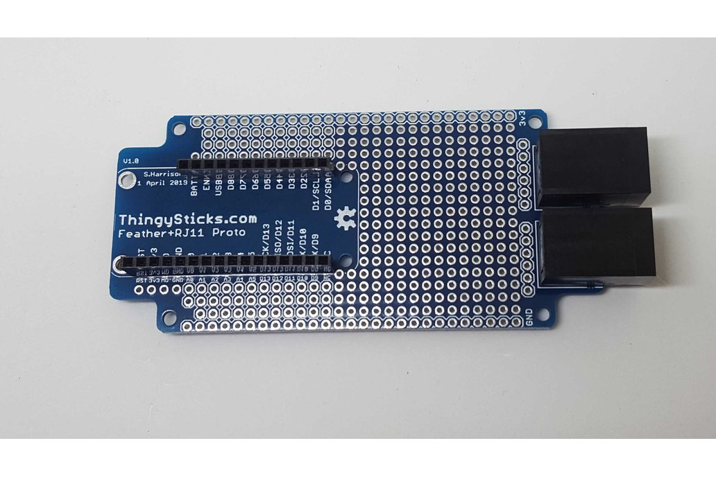 Prototype PCB for Feather boards (RJ11 Version) 1