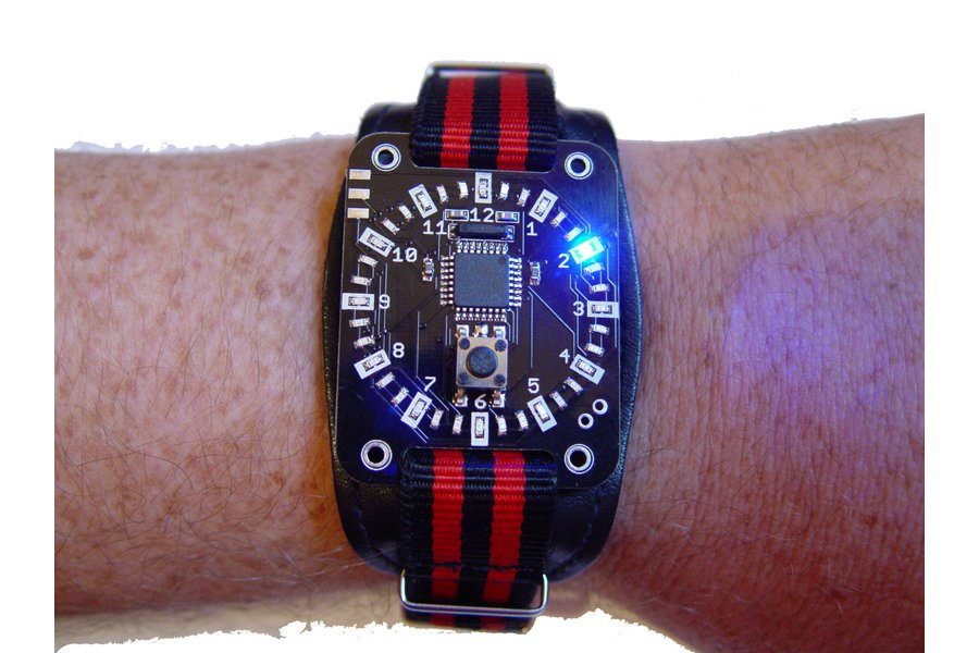 Blue led ring circle display wristwatch