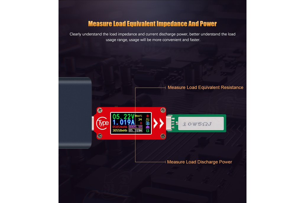 USB energy monitor OLED disp current voltage power 4