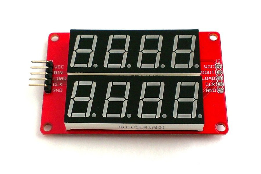 Dual row 4-digit seven segment LED display-YELLOW