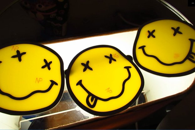 "2xPCB art work design Emoji smile 10cm 4"" diameter"