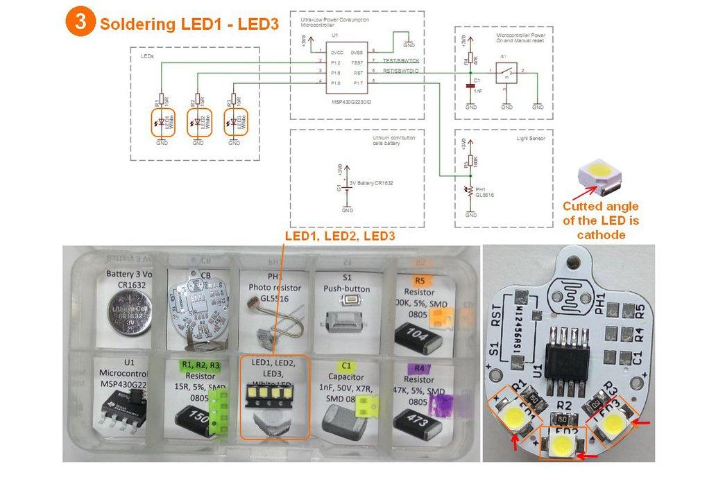 Light sensing smart LED flashlight KIT 8