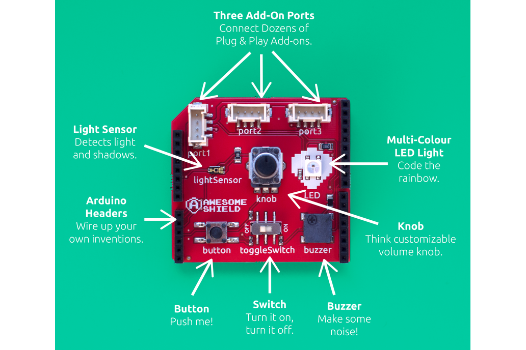 Awesome Shield - Learn to Code for Arduino! 5