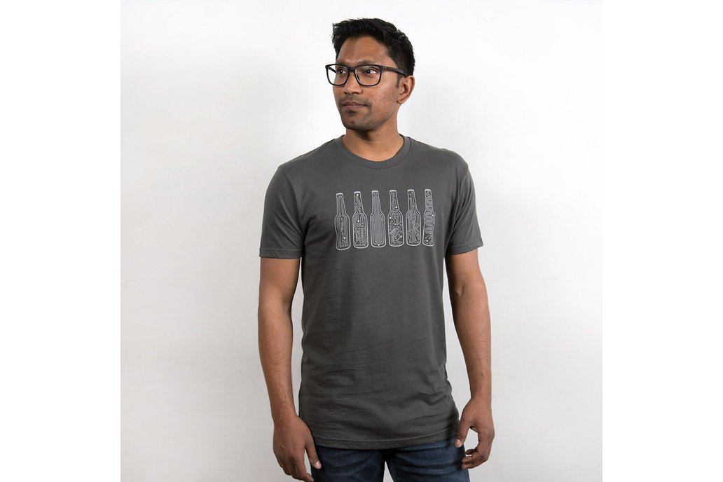 BAR CODE  - Mens Graphic T-shirt in Grey 1