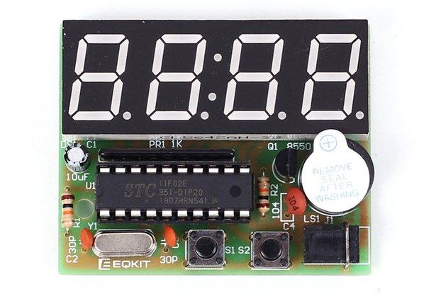 C51 4Bits LED Electronic Alarm Clock DIY Kit(1765)