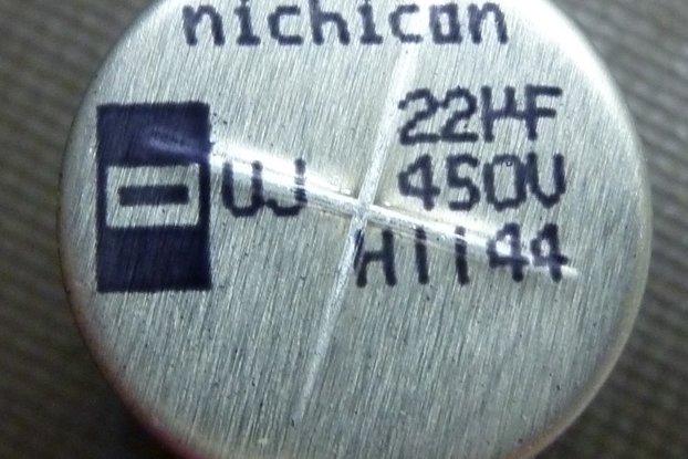 Nichicon 22uF 450V SMD cap P/N UUJ2W220MNQ1MS