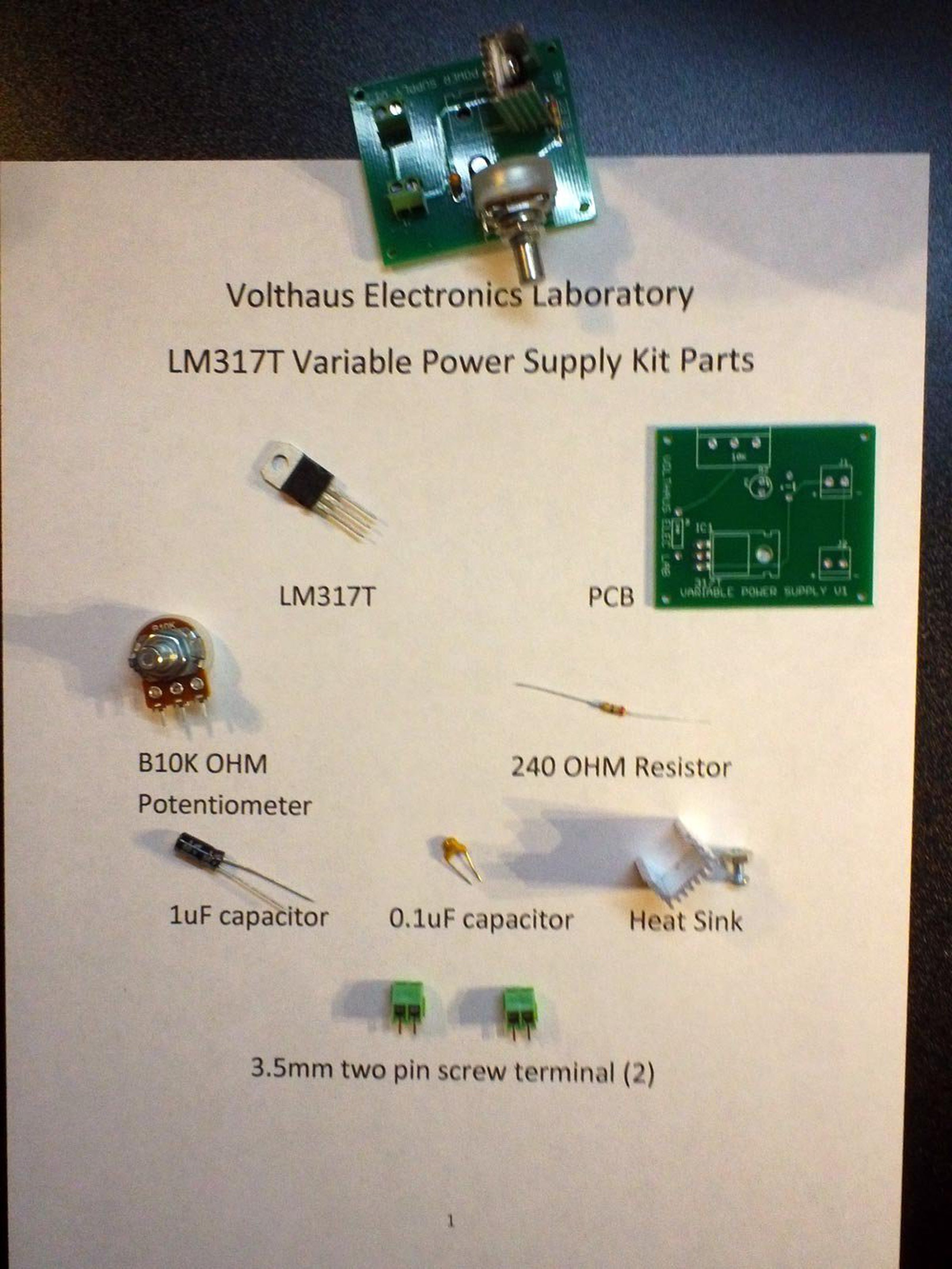 Lm317t Variable Power Supply Kit From Volthaus Electronics Lm317 Circuit 5