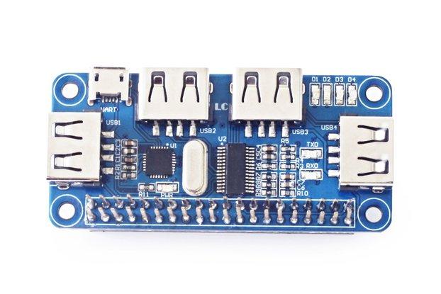 4 Ports USB HUB HAT for Raspberry Pi 3 / 2 / Zero