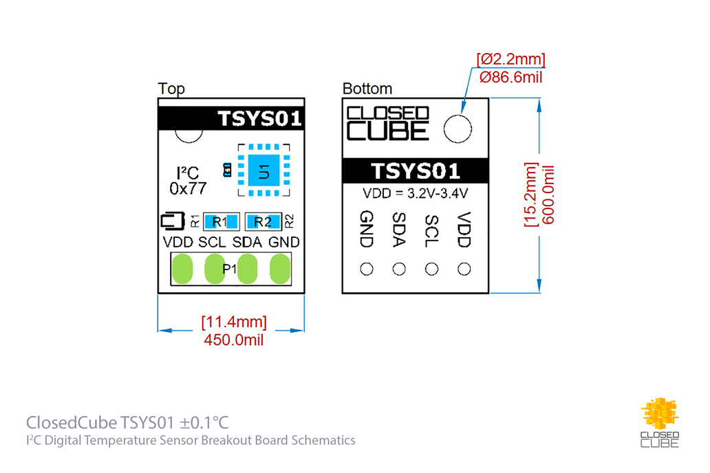 TSYS01 ±0.1°C 24bit ADC Digital Temperature Sensor 5
