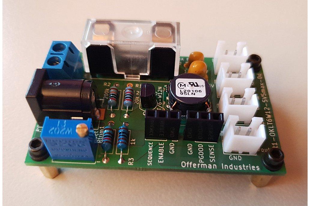 0.59-5.5V adj DC power supply, 4.5-14V in, 6A out 1