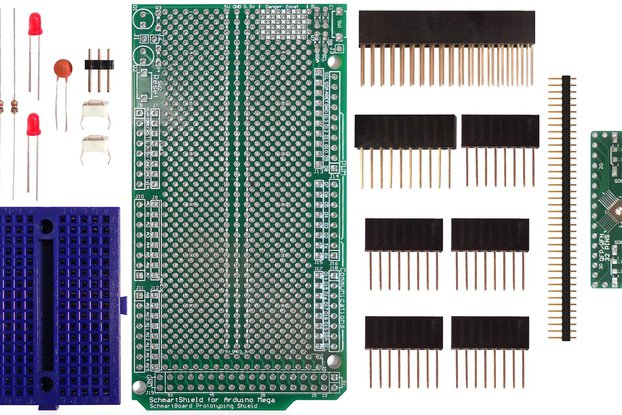 SchmartBoard|ez 0.5mm Pitch, 32 Pin QFP/QFN Arduino Mega Shield Kit