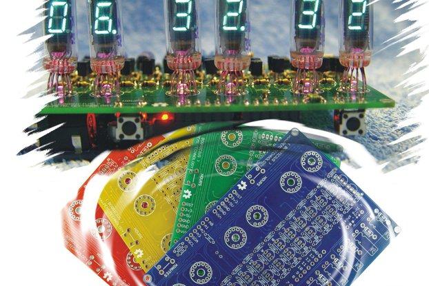 PCB for 6 x VFD (IV-3, IV-6) tubes arduino shield