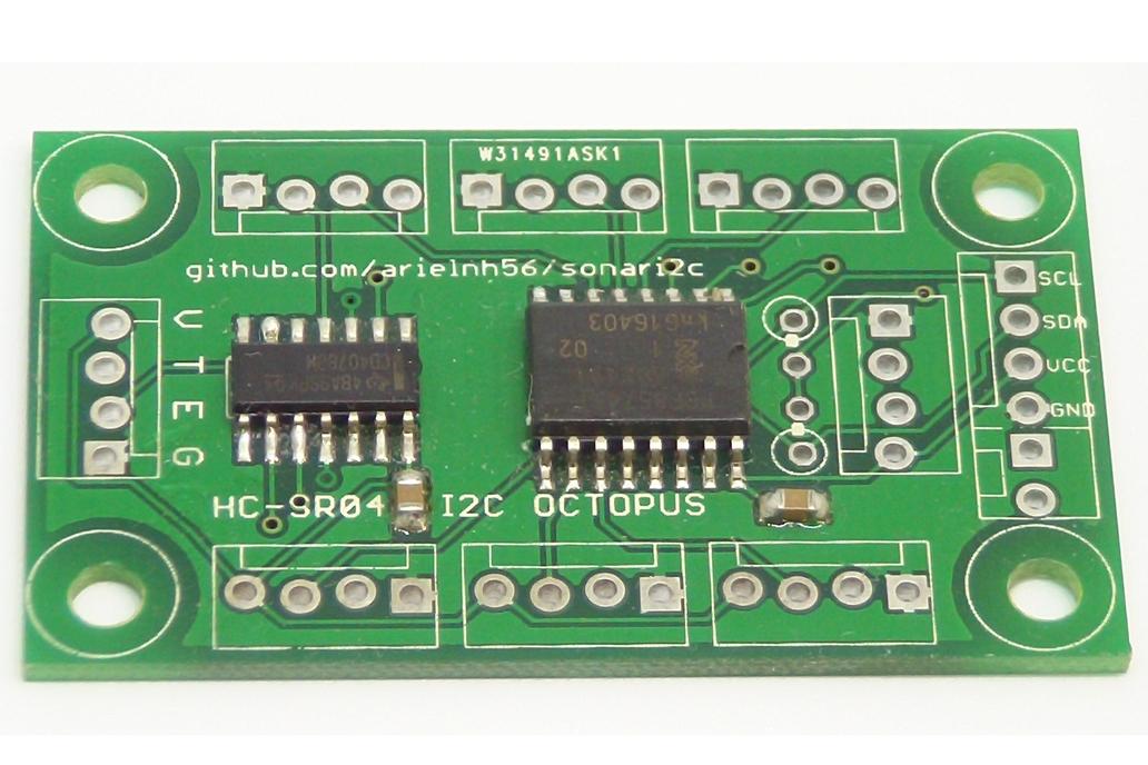 Octosonar v1 - connect 8 x HC-SR04 to Arduino 1