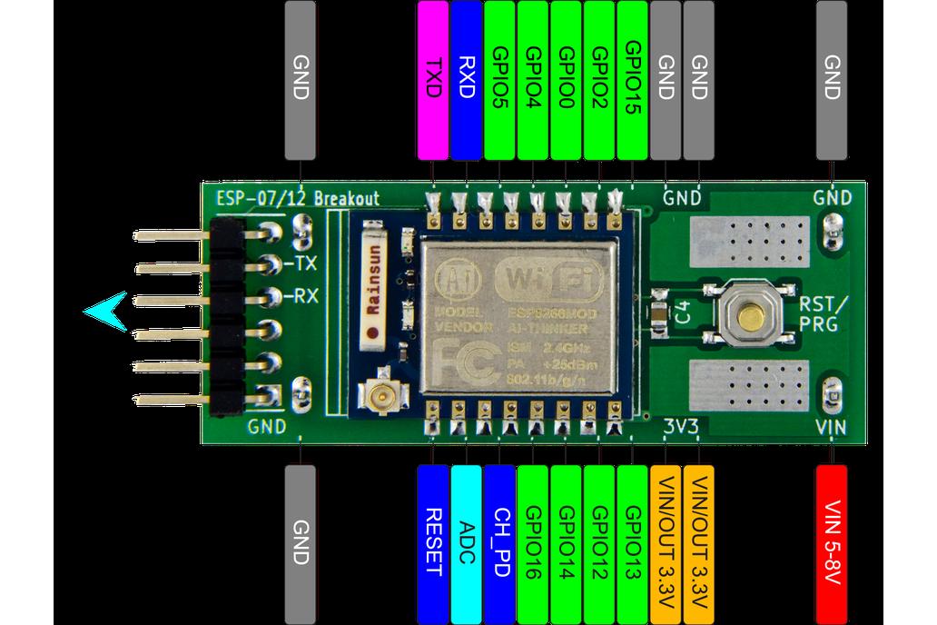 ESP8266 (ESP-07/12) Full I/O Breadboard Adapter 5