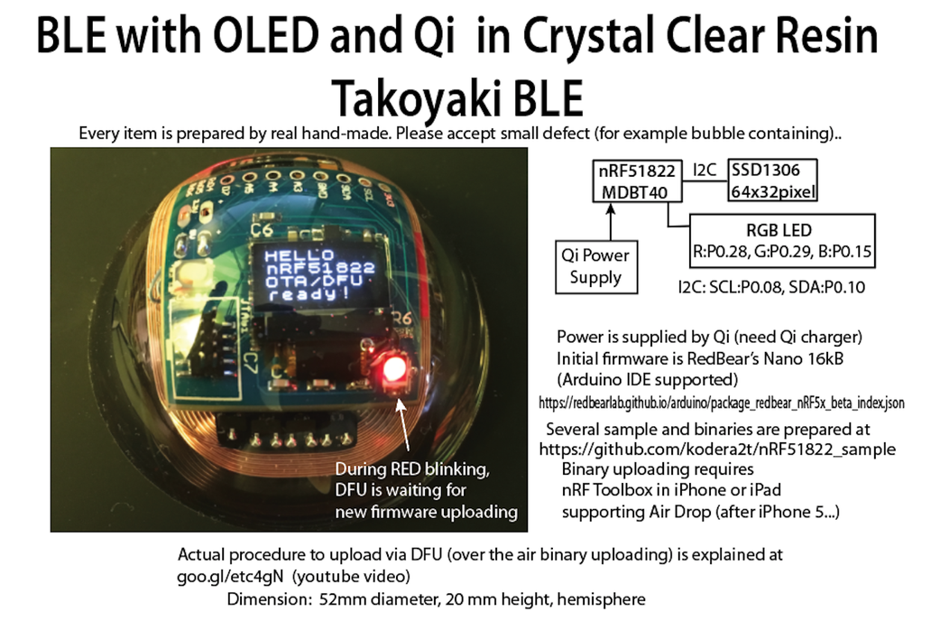 BLE with OLED and Qi in Crystal Clear Resin