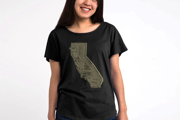 Cali Tech Womens Graphic T-shirt in Black