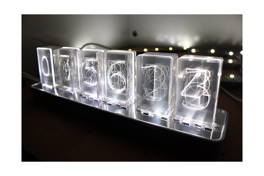 NIXT CLOCK - Acrylic Nixie Led Clock Edge Lit Kit 2