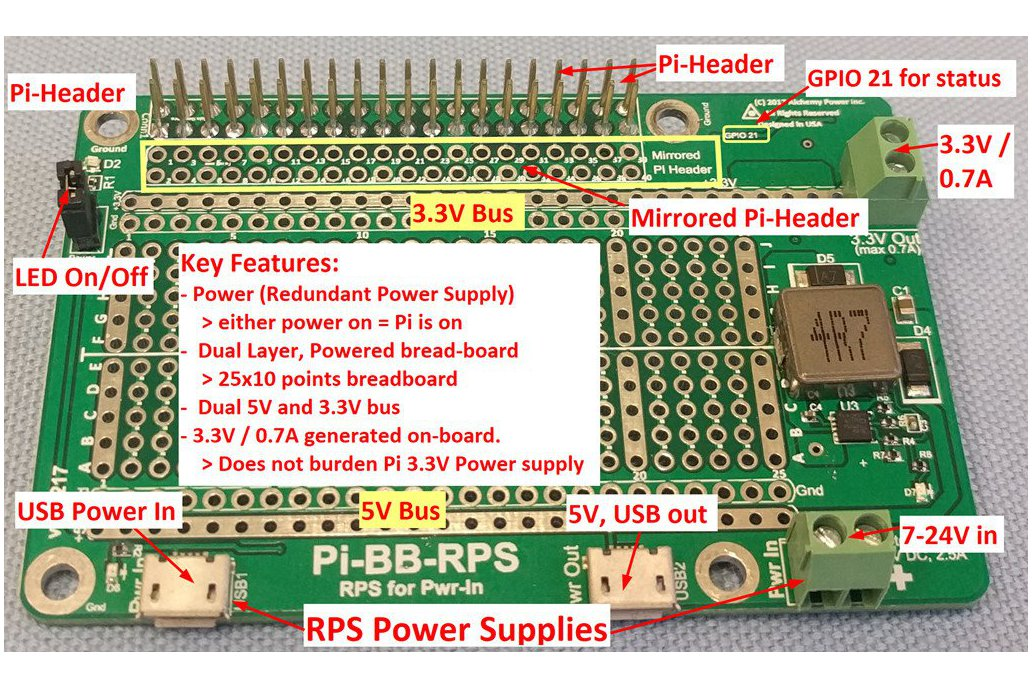 Pi-BB-RPS: DC-DC converter, RPS and more for Pi 2