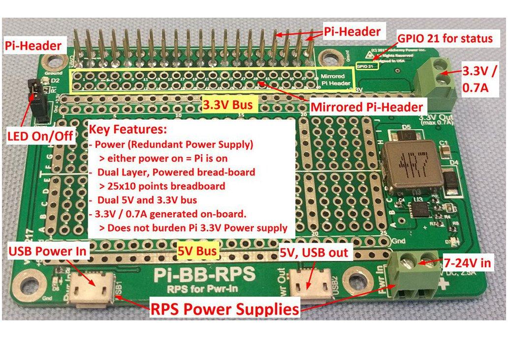 Pi-BB-RPS Redundant Power Supply for Raspberry Pi 2