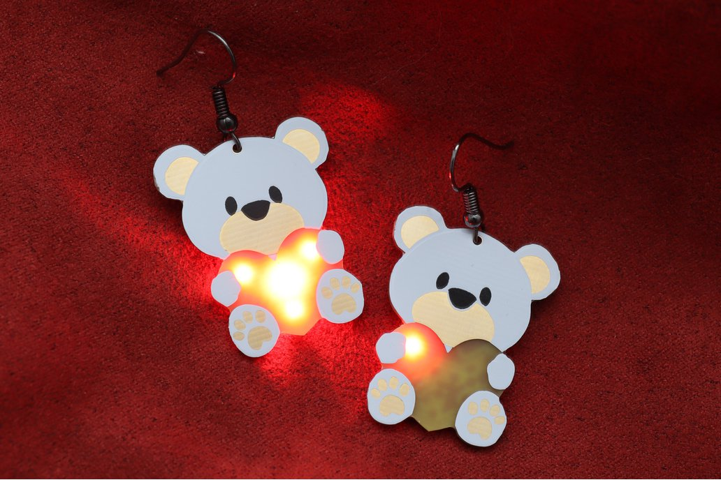 Valentines day Teddy Bear Heart tech wear earrings 1