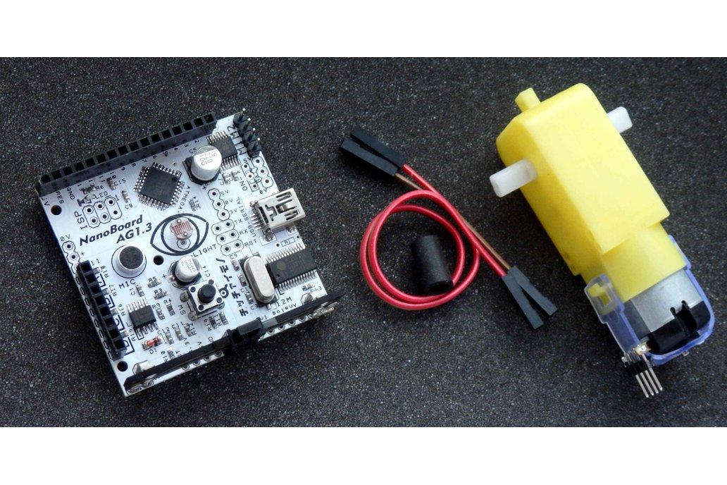 NanoBoard Scratch sensor board + geared motor +  LEGO joint tube 1