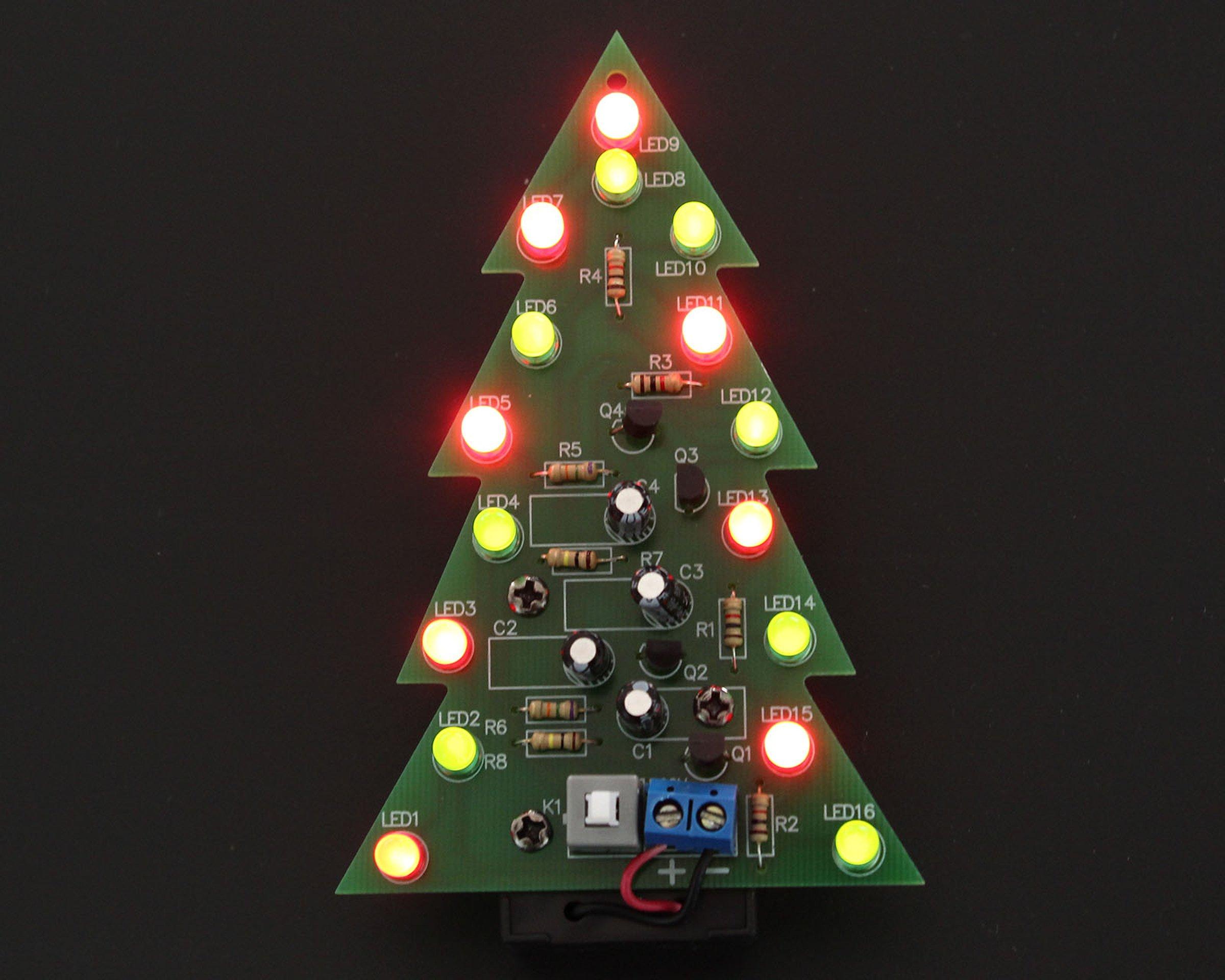 diy kit red green flash led christmas tree5107 1