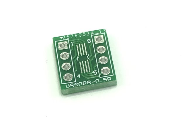 VSSOP-8 0.5mm pitch SMD-to-DIP adapter breakout