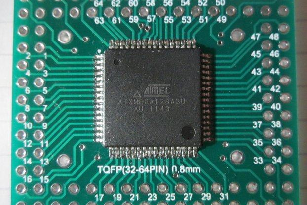 Atmel AVR TQFP ATxmega microcontroller ATxmega128A3U-AU (with USB) on TQFP64 adapter