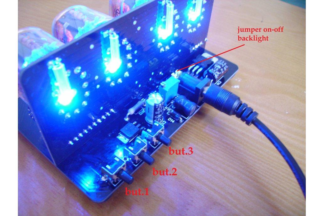 IN-12 NIXIE TUBES CLOCK BLACK PCB WITH BLUE BACKLI 2