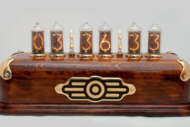 Steampunk style Nixie Clock  on IN-8-2 nixies