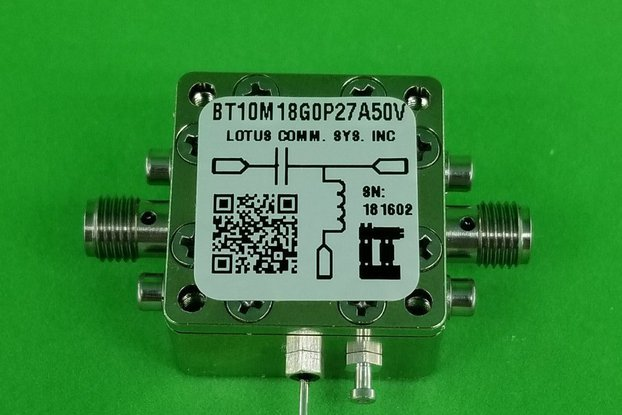 Bias Tee Broadband 10 MHz to 18 GHz 50V 0.27A
