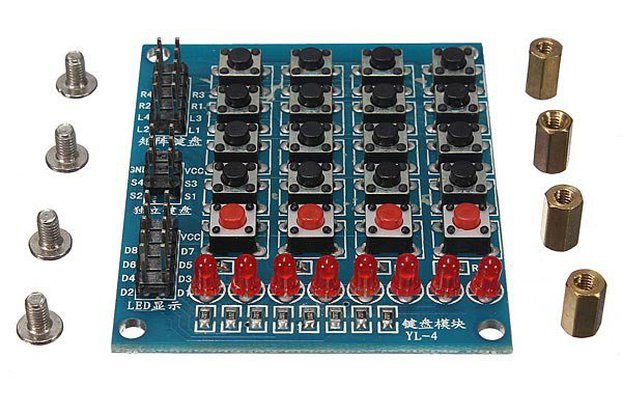 8 LED 4 x 4 Push Buttons Matrix Keypad 16 Key Switch Keyboard For Arduino AVR ARM STM32
