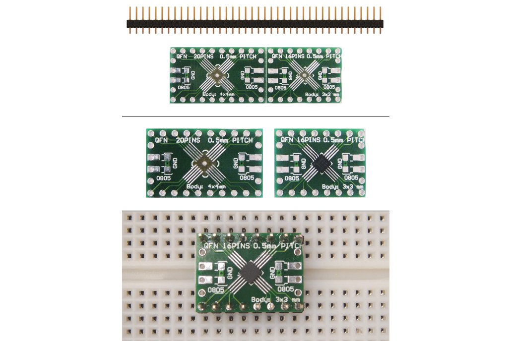 SchmartBoard|ez .5mm Pitch, 16 and 20 Pin QFP & QFN Adapter 1