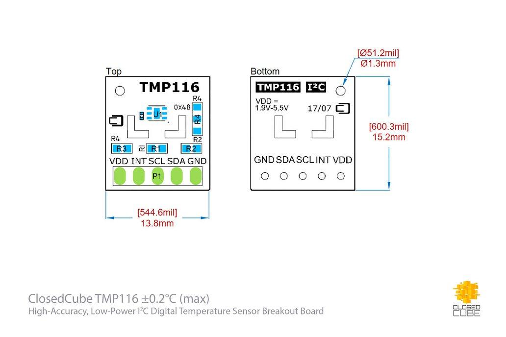 TMP116 ±0.2°C (–10°C..+85°C)  Temperature Sensor 5