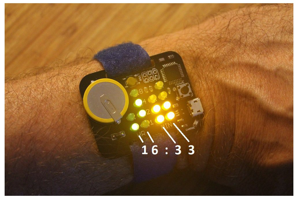 Simple Rechargeable Binary Watch 1