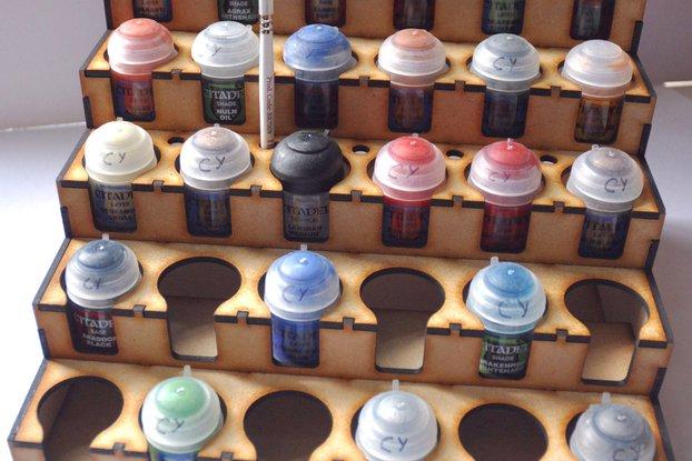 Lasercut paint rack for Citadel / Tamiya sized pots