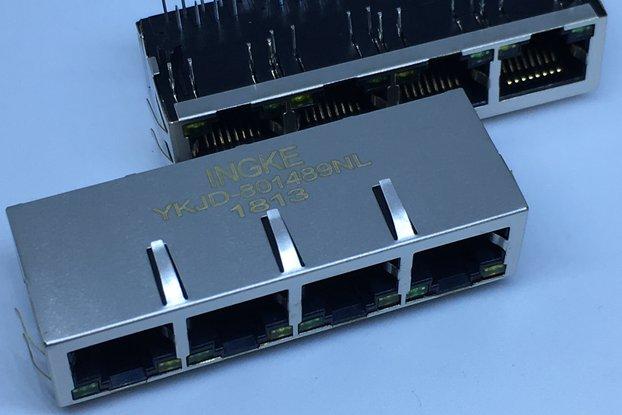 J8064D648A YKJD-801489NL 4 Port RJ45 Magnetic Jack