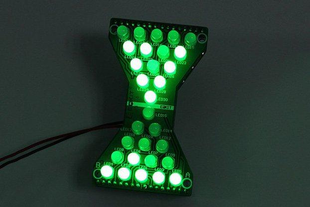 3.3V-5V Green LED Hourglass DIY Kit(13068)