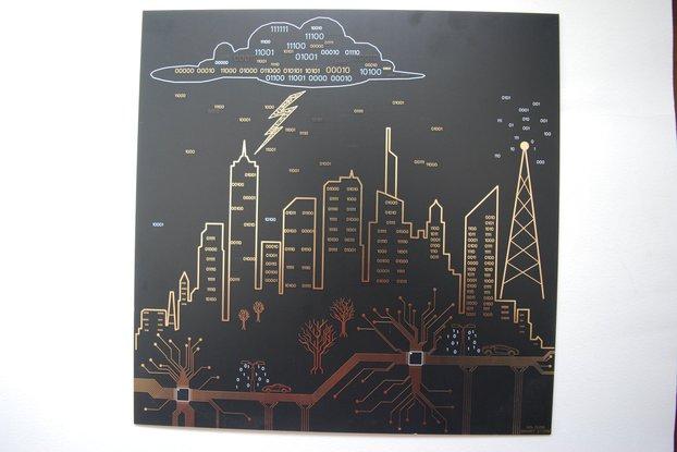 Binary Storm PCB art - 30cm x 30cm