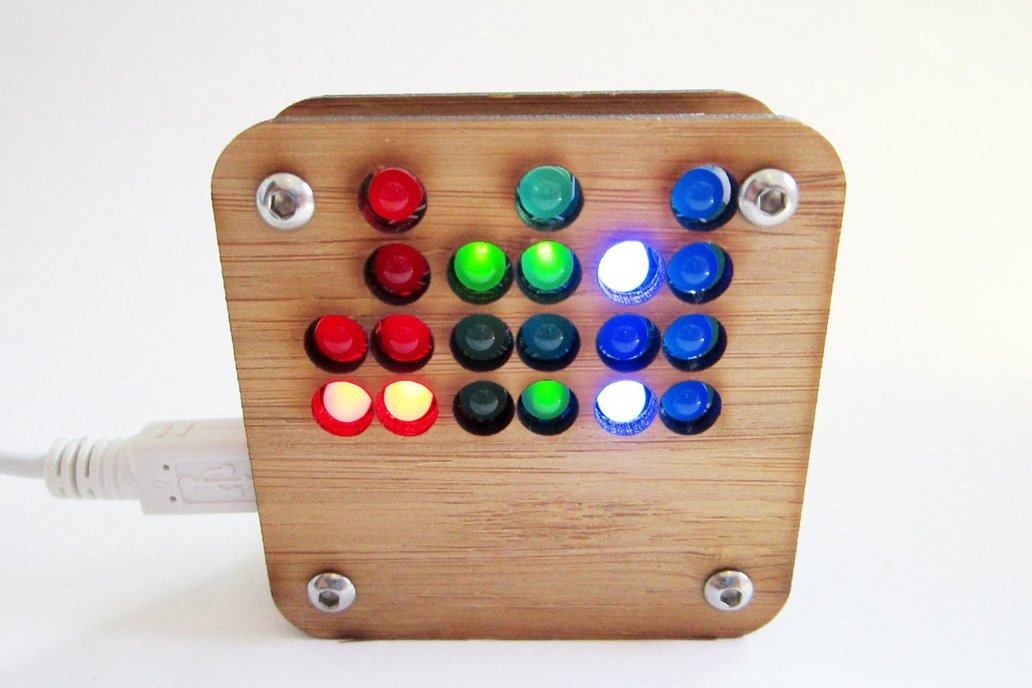 RGB Binary Clock KIT in  Bamboo Case USB Powered 1