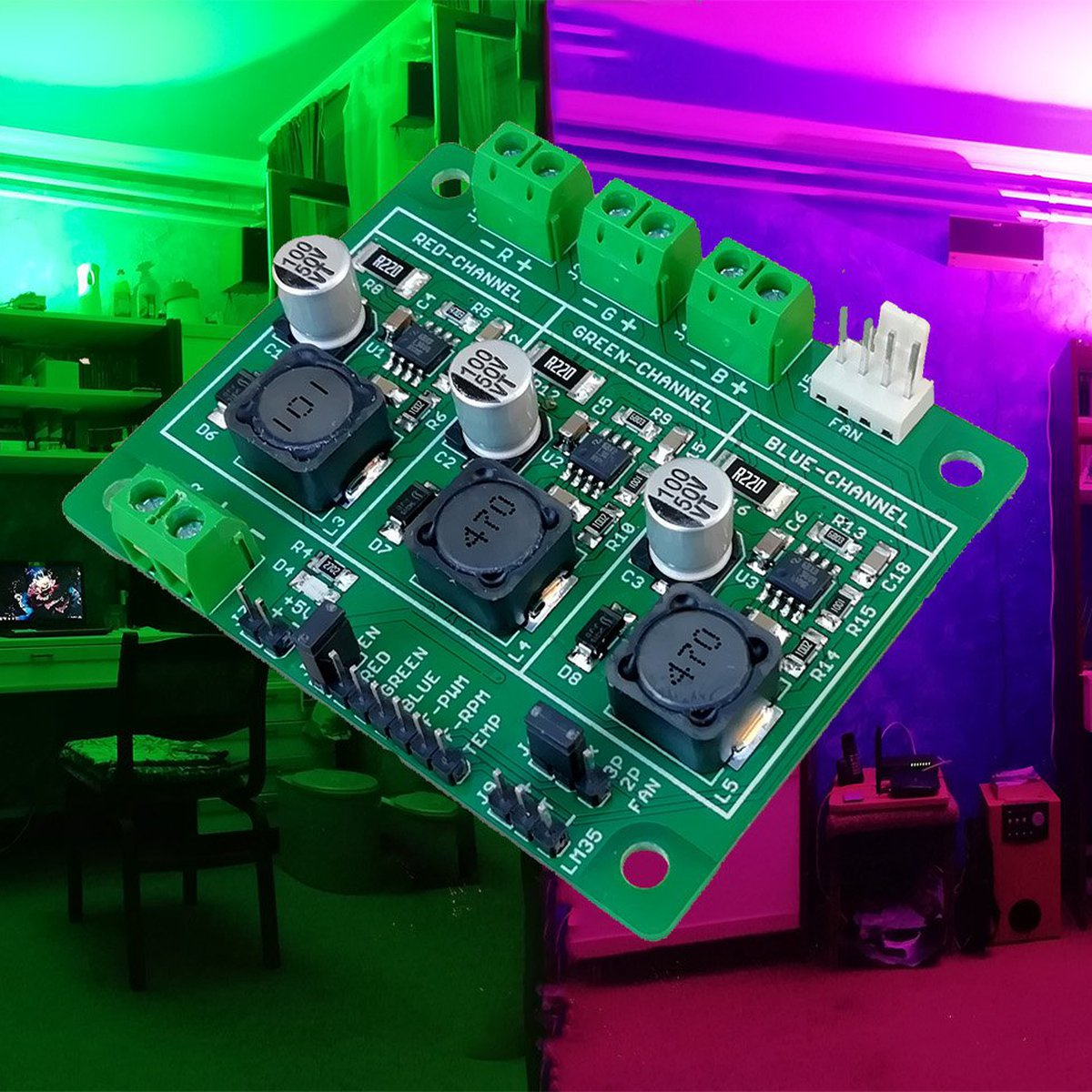 High-Power RGB-LED Driver V1 3X from Quantum Frame on Tindie