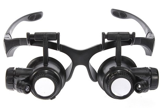 8 Lens 10x 15x 20x 25x Headband 2LED Magnifier