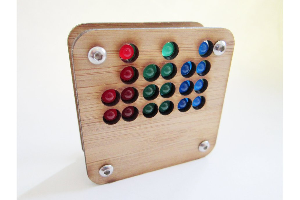 RGB Binary Clock KIT in  Bamboo Case USB Powered 5